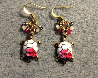 White, hot pink and dark blue enamel turtle charm earrings adorned with tiny dangling white, hot pink, and dark blue Chinese crystal beads.