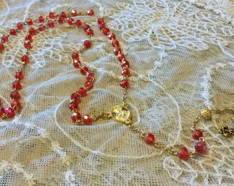 Beautiful Ruby Red and Gold Swarovski Crystal Rosary