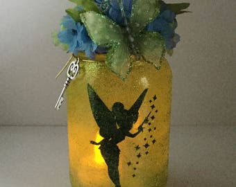 Fairy Mason Jar Lantern - Tinkerbell Luminaire - Fairy Flameless Votive Holder - Tinkerbell Fairy Mason Jar Nightlight