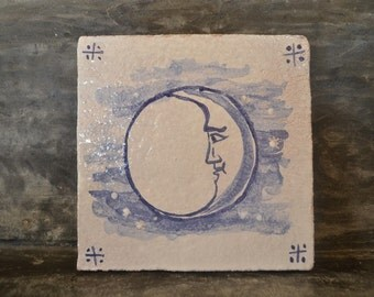 "Handmade stoneware tile ""Lua"""