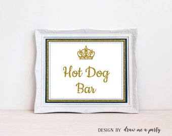 Hort Dog Sign , Baby Shower Table Signs , Prince Baby Shower , Winter Signs , Navy Blue , Printable , Royal Baby , Baby Shower Decorations
