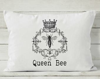 Pillow Cover - Queen Bee - Pillow for Couch - Farmhouse Decor - Bee Pillow