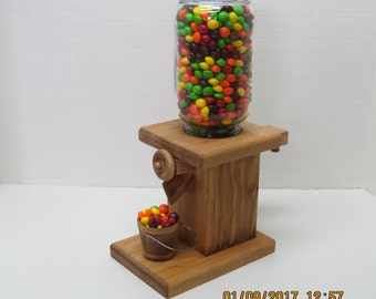 Handmade wooden gum ball / peanut / candy dispenser