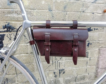 Leather Bicycle Bag,Brown Leather Bike Bag, Brown Leather Bag, Leather Bag, Bike bag, Cycling, Bike Accessory, Bicycle, Bike