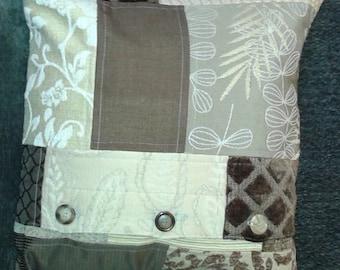 "Throw pillow - upcycled fabrics - 18"" x 18"""