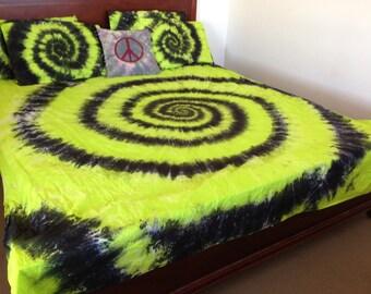 Tie Dye Spiral, Tie dye Bedding, Doona Cover Set, Quilt, Duvet, Sheet Set, Cot Set, Green, Black, Yellow, by Australian Artist Clair Sol