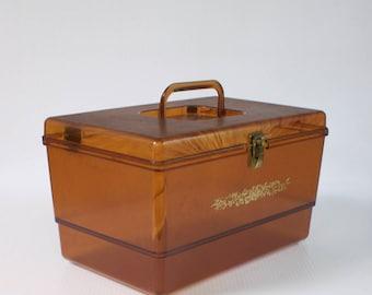 Vintage File Box - 1960s Large Brown Bakelite Hard Plastic Storage Box with handle