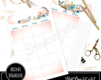 Ice Cream Undated Month on Two Pages (MO2P) Half Page Designed Printable Planner Inserts