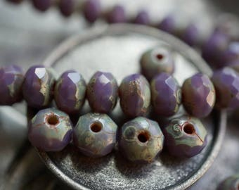 last ones..Lavender Pebbles, Rondelle Beads, Czech Beads, Beads, N1677