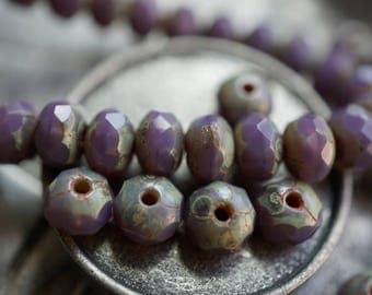 Lavender Pebbles, Czech Beads, Czech Rondelles, N1677