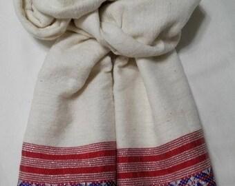 Women's 100% Handwoven Ethiopian Cream Cotton Scarf w/ Red-White-Blue Design