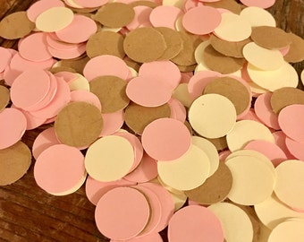 Kraft, Cream & Light Pink Confetti 200 pieces