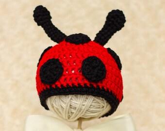 Ladybug Hat-baby ladybug hat-newborn ladybug hat-crochet ladybug hat-knit lady bug hat