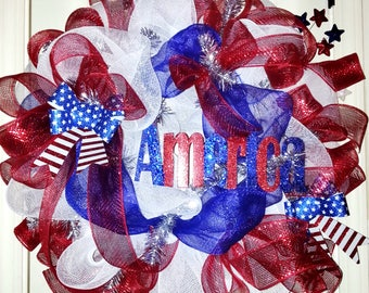 July 4th mesh wreath, flag wreath, USA wreath, Patriotic wreath, summer wreath, Memorial Day wreath, Military wreath, America wreath
