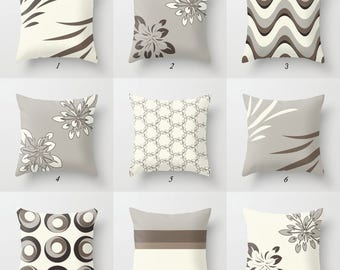 Gray and White Pillow, Brown Pillow Covers Gray Pillow Neutral Throw Pillows Geometric Toss Pillows Mix and Match Pillows Decorative Pillows