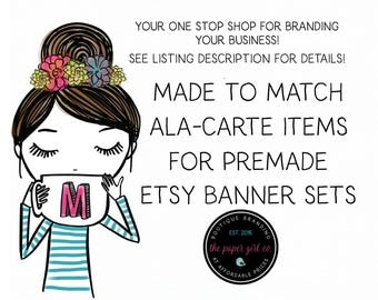 add-on for made to match etsy banner set items vacation  banner shop avatar vacation banner business card sticker design Facebook set