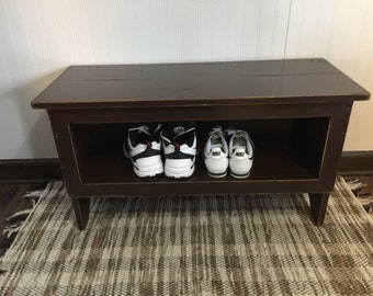 Primitive Shoe Cubby Bench Entry Way Bench TV Stand