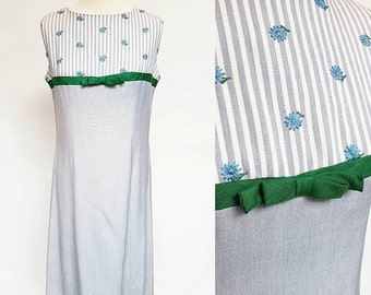 VTG 60s Peck & Peck Blue Dress M / Vintage Sixties Striped Sleeveless Dress / Medium Cotton Zipper