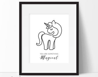 Monochrome Unicorn Print, Unicorn Printable, Unicorn Poster, Unicorn Wall Art, Monochrome Nursery Decor, Unicorn Wall Art, Instant Download