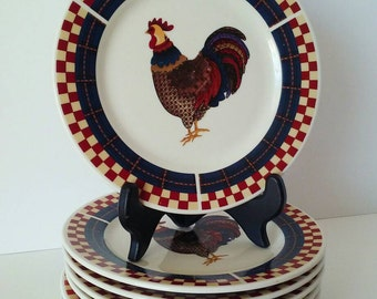 Oneida Rooster Small Plate x 8, salad or Dessert Plate, Rooster, Rooster Kitchen Decor, French Country, Chicken Decor, Country Decor, Farm