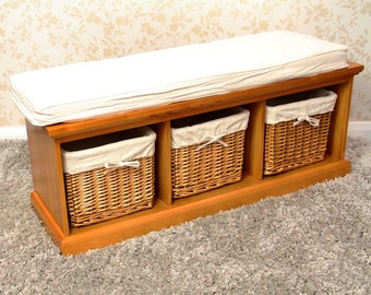 Willow Storage Bench. Baskets. Shoes. Seating. - 21038