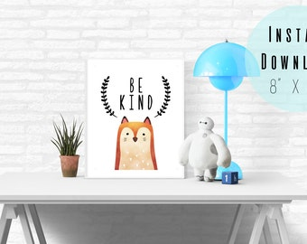 "8"" x 10"" Be Kind Boy Nursery Wall Art Printable - Watercolor Fox - Baby Boy Baby Girl Toddler Room - Kids Wall Art - Instant Download"