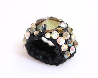 Swarovski ring, Glamour ring, Knitted ring, bespoke ring, stretch ring, crochet ring, yarn ring, Black band ring,iridescent green.