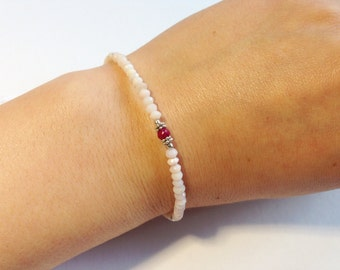 Natural Pink Peru Opal ~ Ruby Bracelet . Sterling silver. Faceted Rondelle . Peruvian Opal