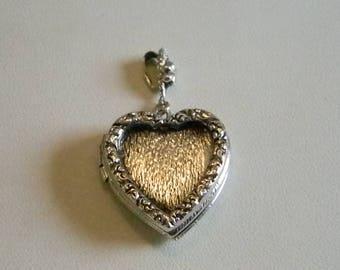 Silver Tone Heart Photo Locket Pendant Necklace