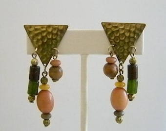 Hammered Brass Look Multi Colored Beaded Clip Earrings