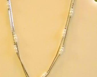 Silver Tone Box Chain Pearl Necklace