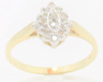 Small Marquise Genuine Diamonds Cluster Gold Ring.
