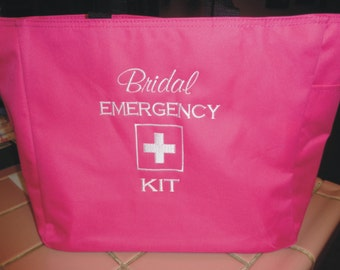 1 Bridal Emergency Kit Tote Bag Bridesmaid Gift Wedding Teacher FRIEND SHOWER  Embroidered Bride Cute