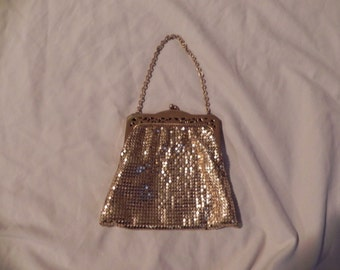 1940's or 1950's Vintage Whiting and Davis Gold Mesh Handbag Purse