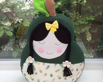 Fleece doll plushie, Kawaii soft doll, doll pear cushion, plushie pillow,  kids pillow, green cushion, novelty cushion, dolls