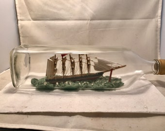 English Antique ship in a bottle