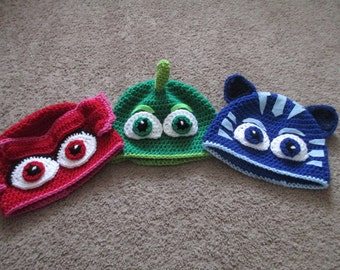 Crochted Inspired PJ Mask Crocheted Hat---Costume----Fall/Winter Hat