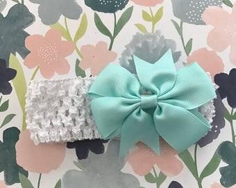 White and sea foam baby headband