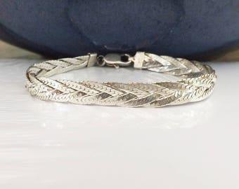 """Italian Sterling Silver 925 Herringbone Braid Woven BRACELET Italy 8mm 7 1/4"""" Fine Designer"""