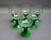 Six vintage apple-green plastic footed glasses set, Clear glass and green feet, Barware for aperitif or digestive drinks