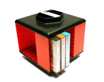 Vintage 70s GIRANDOLA orange and black plastic cassette rack, Rotary holder for 20 or 32 audio tapes, Orange decor or gift idea