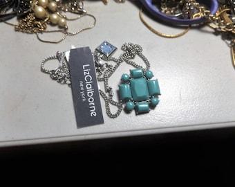 Liz Claiborne NY Pendant necklace Teal color Signed