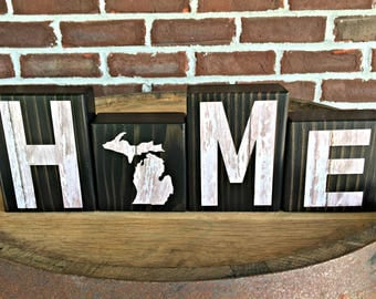 Michigan Home Blocks | Rustic Wooden Letter Block | Wooden Home Decor | Housewarming Gift | Gift Under 20 | State of Michigan | Michigan Map