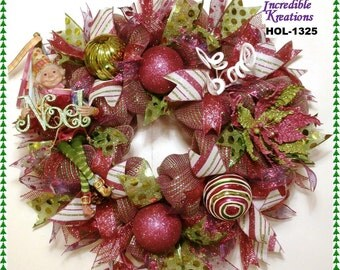 Christmas Wreath Elf; RAZ Candy Sprinkles Elf Wreath; Front Door Wreath; Decoration for Doors or Walls; Elf; Whimsical