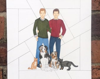 5-6 People/Pets Custom Family Portrait Illustration