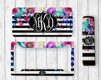 Monogram License Plate, Monogram License Plate Frame, Custom License Tag, Personalized Seatbelt Cover, Floral Monogram, Floral License Plate