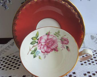 Aynsley Un-Named Burnt Orange with Huge Pink Rose inside Wide Mouth Bone China Tea Cup and Saucer