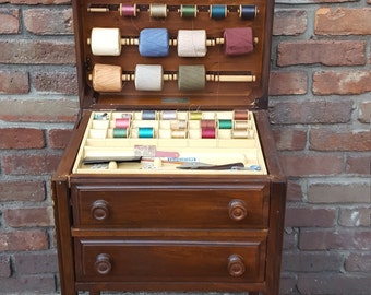 REDUCED Vintage Caswell-Runyan Co Wooden Sewing Cabinet