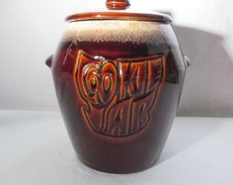 Vintage, McCoy Pottery, Brown Drip Glaze Cookie Jar, Stoneware, 1960's