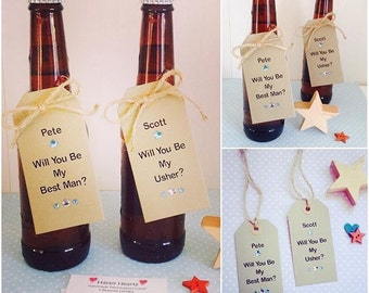 Personalised Handmade 'Will You Be My Best Man' Tags - Will You Be My Usher - Will You Be My Groomsman - Will You Be My Pageboy - Wedding